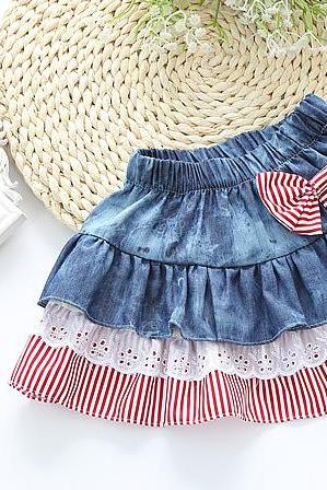 Personalized Children's Jeans Skirt Striped Bow Lace Baby Girl Lace Half-length Group F-0072