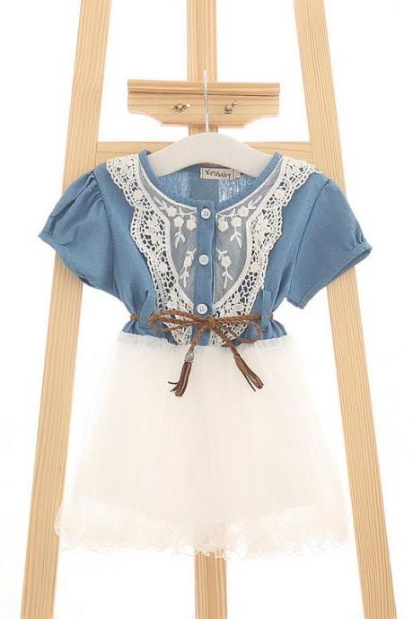 2016 new summer short-sleeved cotton dress female children of spring and summer lace princess dress children Girls lace dress children denim jumpsuit denim belt net veil F-0077