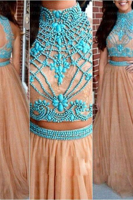 Long Champagne Tulle Two Pieces Beaded Prom Dresses A-line Evening Dresses Formal Party Gowns