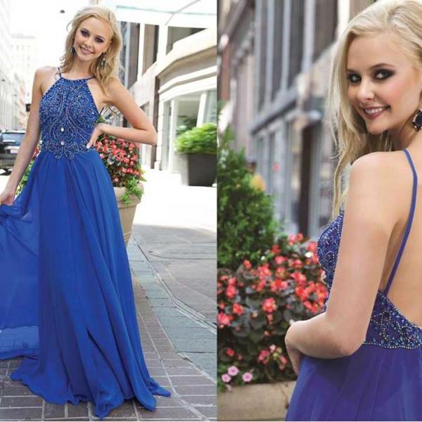 Royal Blue A-Line Prom Dresses Crew Spaghetti Straps Shining Beaded Prom Gown Long Backless Party Dress 2016 Fashion Chiffon Evening Dresses