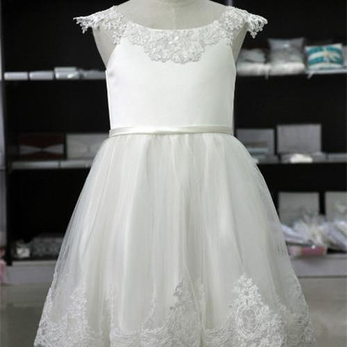 2016 girls a-line white lace cap sleeve ankle-length white first communion dresses for girls vestidos de communion dresses girls