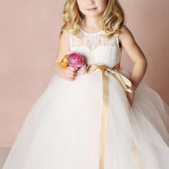 Sweet Lace Flower Dresses Lovely Girls Dress First Communion strap Removable Floor-Length Ivory Bridal Dresses Girl Dresses