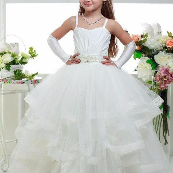 Floor Girls Dresses 2016 A Line spaghetti strap Appliques Pleats girls wear dress First Communion Dresses Wedding