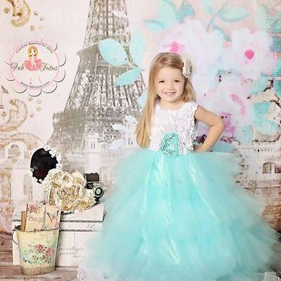 Adorable tulle ball gowns lace appliques Sleeveless Mint Rosette Tutu Dress Flower Girl Wedding Hive Tiered Sash