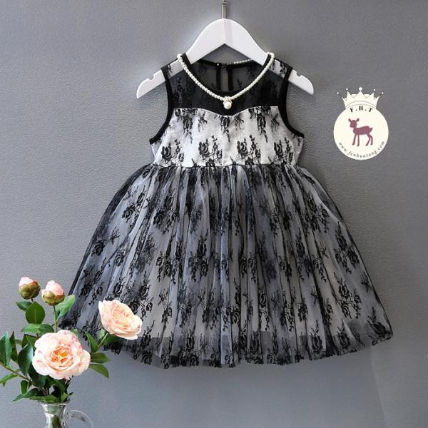 Kids 2016 New Spring And Summer Girls Bud Mesh Gauze Tutu Dress Black Vest F-0043