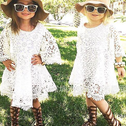 Explosion Models 2016 New Children's Clothing Girls Openwork Crochet Lace Dress F-0044