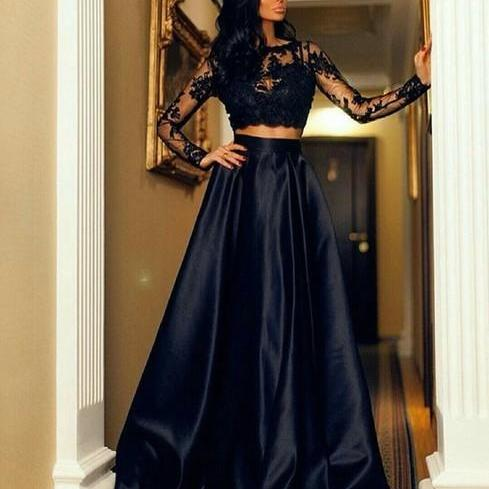 Sexy Fashion Black Lace Long Sleeve Prom Dresses, Two Piece Prom Dresses, Floor Length Formal Dresses, A Line Satin Long Evening Dress, Party Dresses, Prom Dress for Teens,